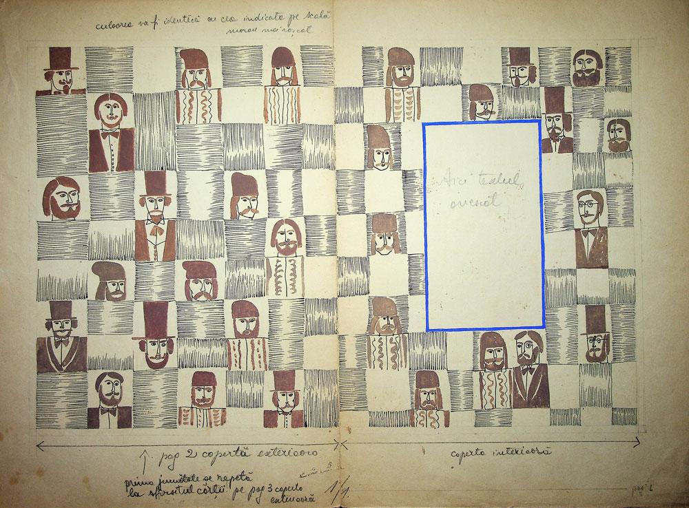 Vasile Celmare, Mos Ion Roata si Unirea, desen pe carton, 1968, coperta interioara, 35x50 cm