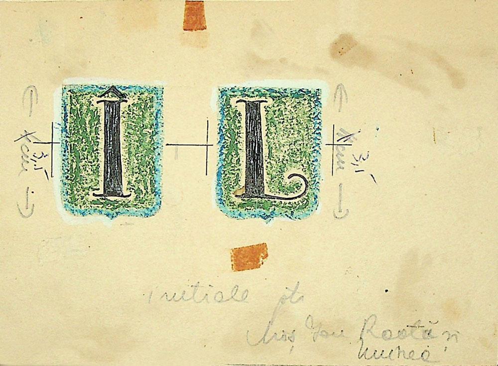 Vasile Celmare, Mos Ion Roata si Unirea, desen pe carton, 1968, initiala, 12x16 cm