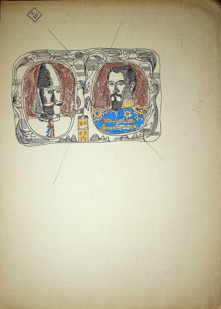 Vasile Celmare, Mos Ion Roata si Unirea, desen pe carton, 1968, pg 12 verso, 35x25 cm
