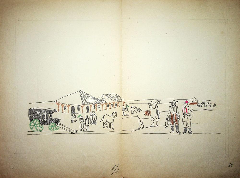 Vasile Celmare, Mos Ion Roata si Unirea, desen pe carton, 1968, pg 14-15, 35x50 cm