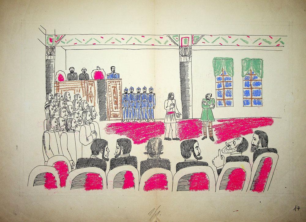 Vasile Celmare, Mos Ion Roata si Unirea, desen pe carton, 1968, pg 17, 35x50 cm