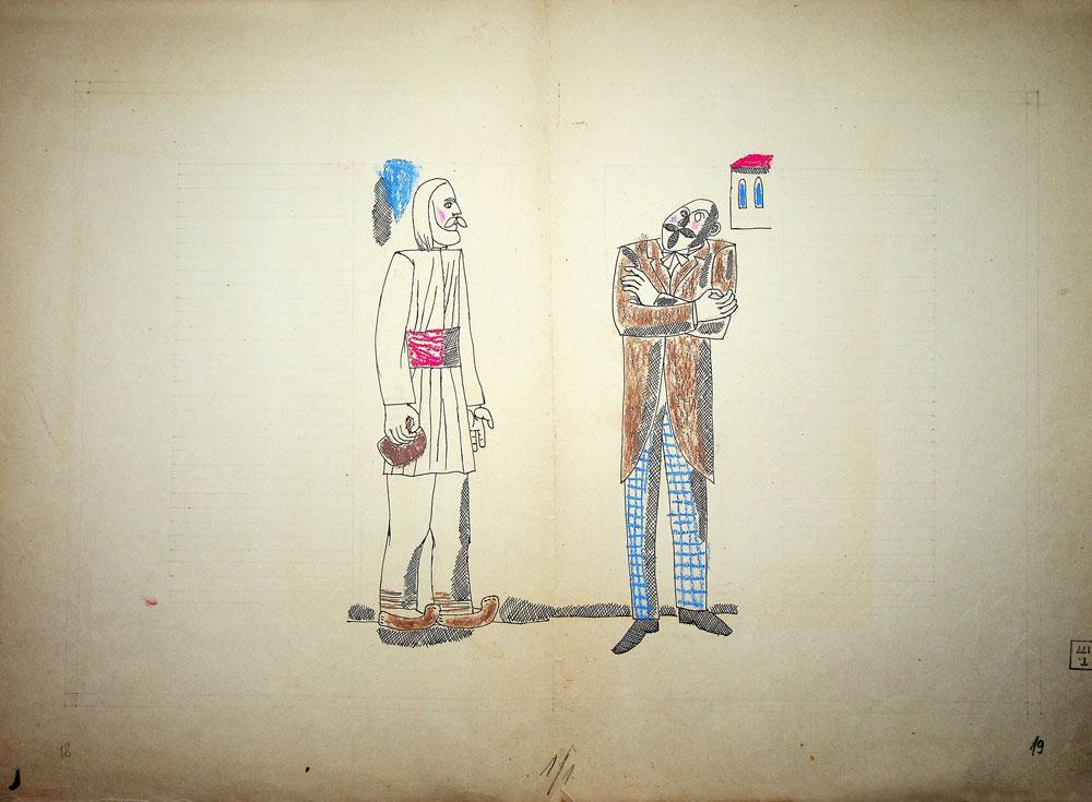 Vasile Celmare, Mos Ion Roata si Unirea, desen pe carton, 1968, pg 18-19, 35x50 cm