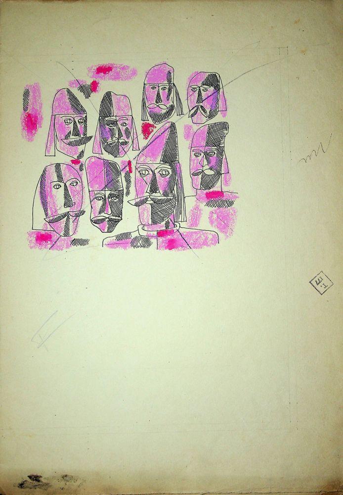 Vasile Celmare, Mos Ion Roata si Unirea, desen pe carton, 1968, pg 18 verso, 35x25 cm