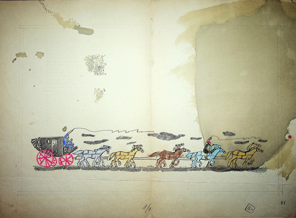 Vasile Celmare, Mos Ion Roata si Unirea, desen pe carton, 1968, pg 20-21, 35x50 cm