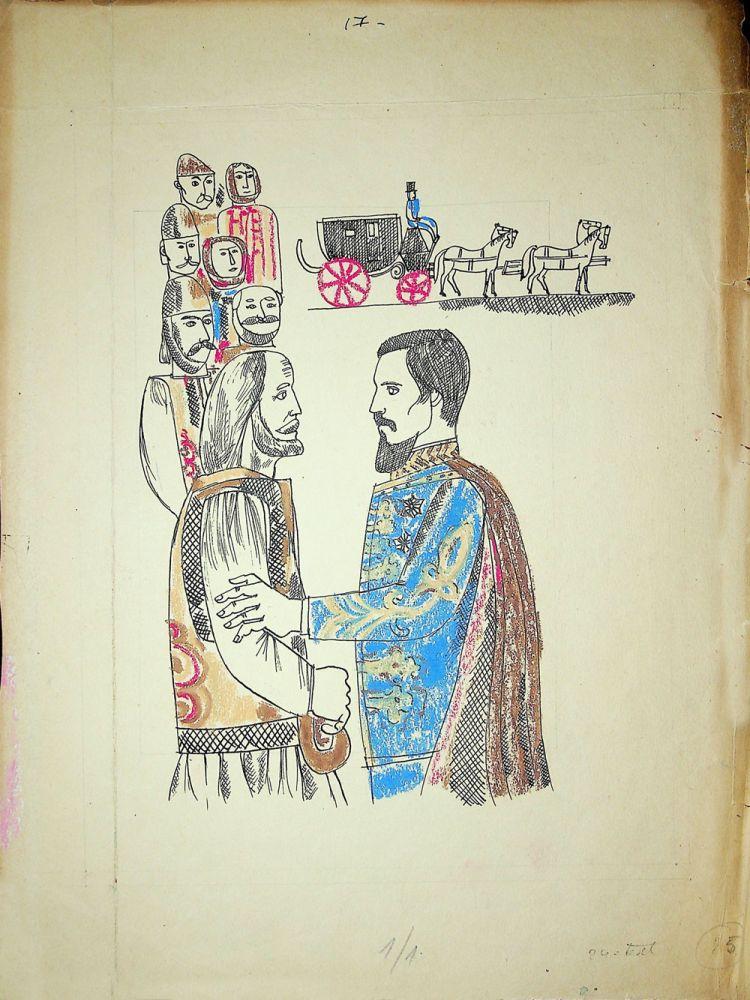 Vasile Celmare, Mos Ion Roata si Unirea, desen pe carton, 1968, pg 25, 35x26 cm