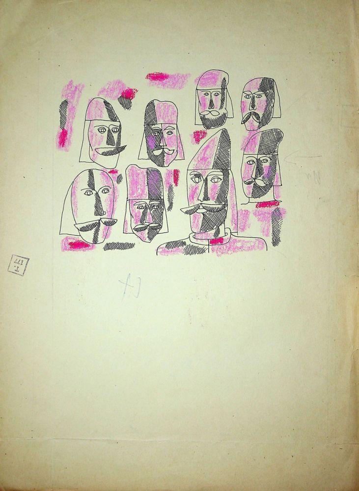 Vasile Celmare, Mos Ion Roata si Unirea, desen pe carton, 1968, pg 25 verso, 35x26 cm