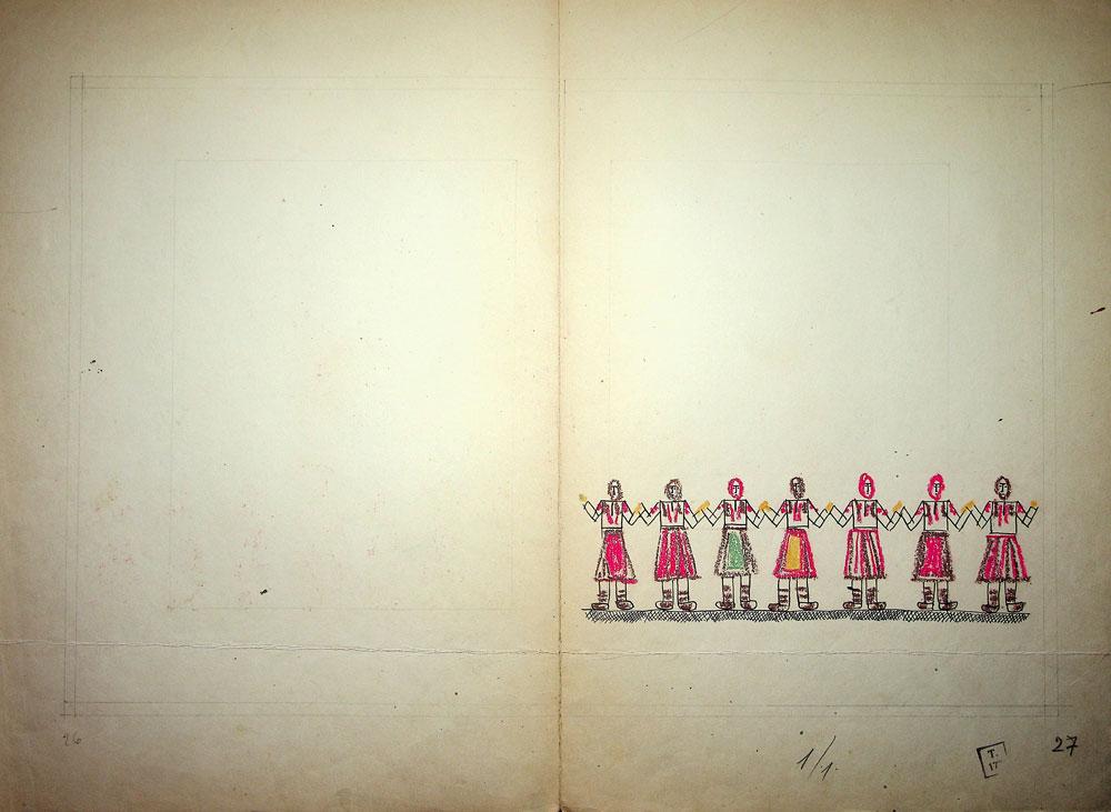 Vasile Celmare, Mos Ion Roata si Unirea, desen pe carton, 1968, pg 26-27, 35x50 cm