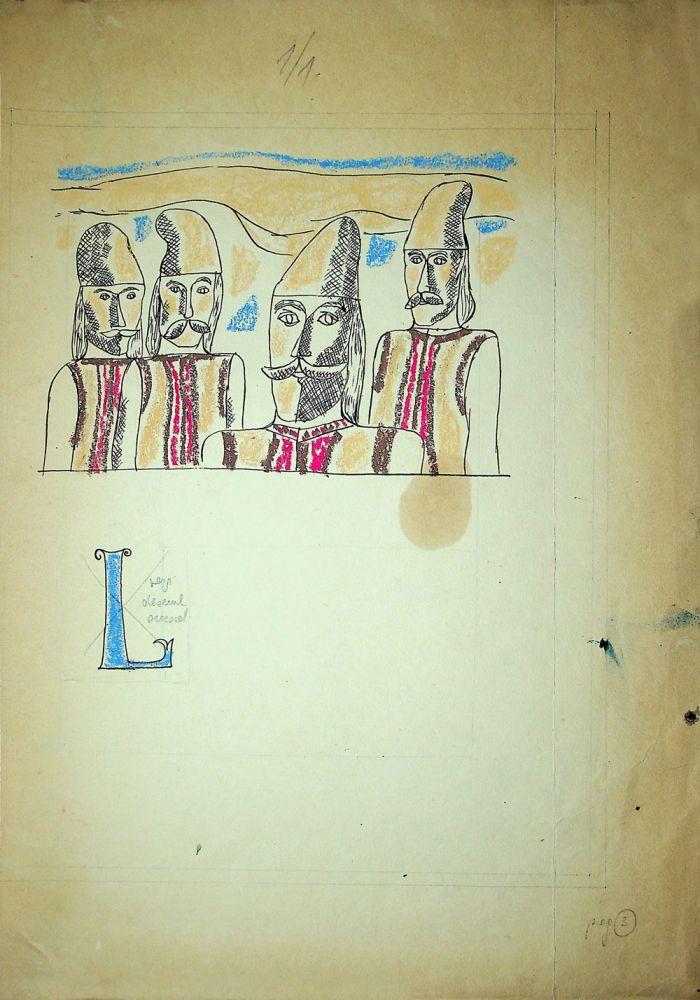 Vasile Celmare, Mos Ion Roata si Unirea, desen pe carton, 1968, pg 3, 35x25 cm
