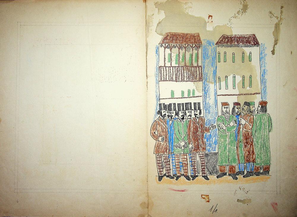 Vasile Celmare, Mos Ion Roata si Unirea, desen pe carton, 1968, pg 6-7, 35x50 cm
