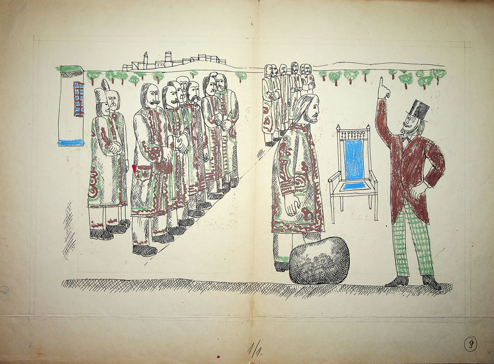 Vasile Celmare, Mos Ion Roata si Unirea, desen pe carton, 1968, pg 8-9, 35x50 cm