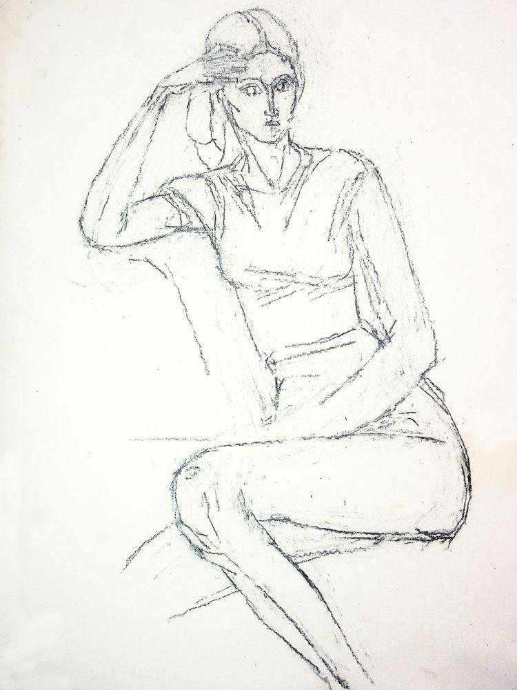 Vasile Celmare, Personaj feminin, desen pe hartie caserata pe lemn, 53x41 cm