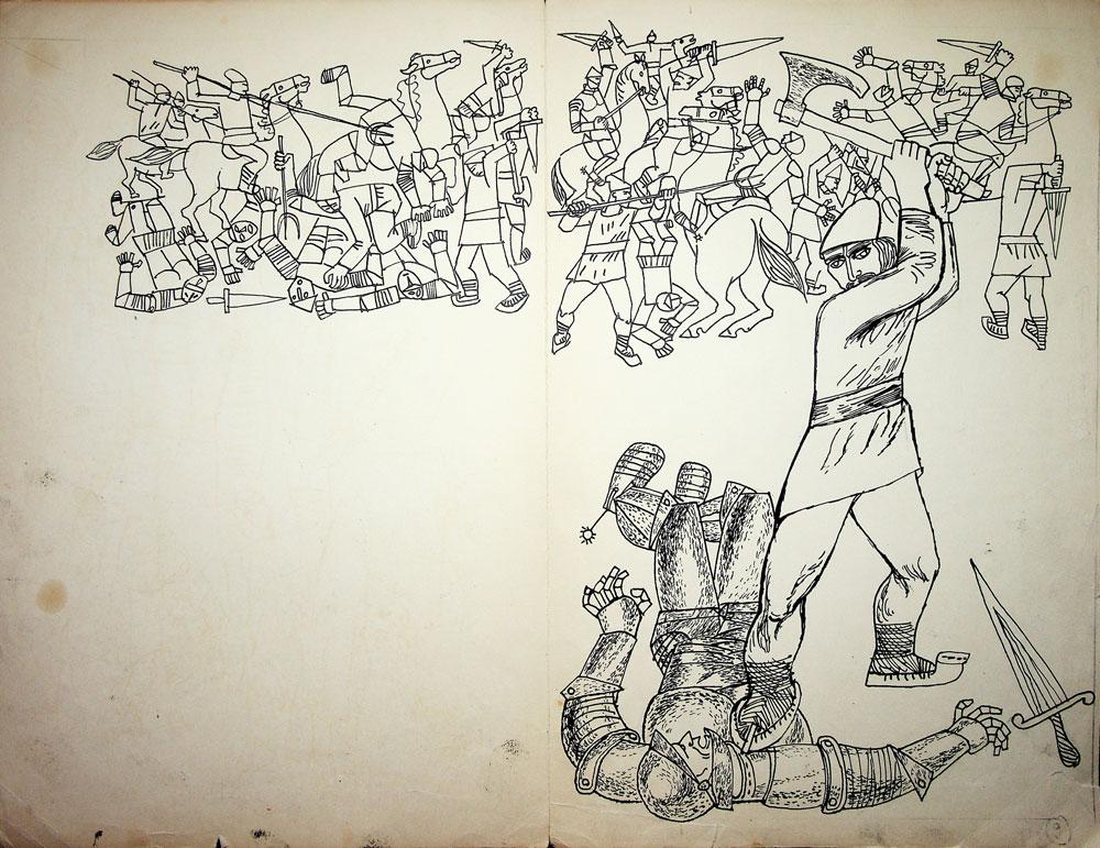 Vasile Celmare, Vintoasa - C Ignatescu, editura Tineretului, fig 10, 1964, tus pe hartie, 35x46 cm