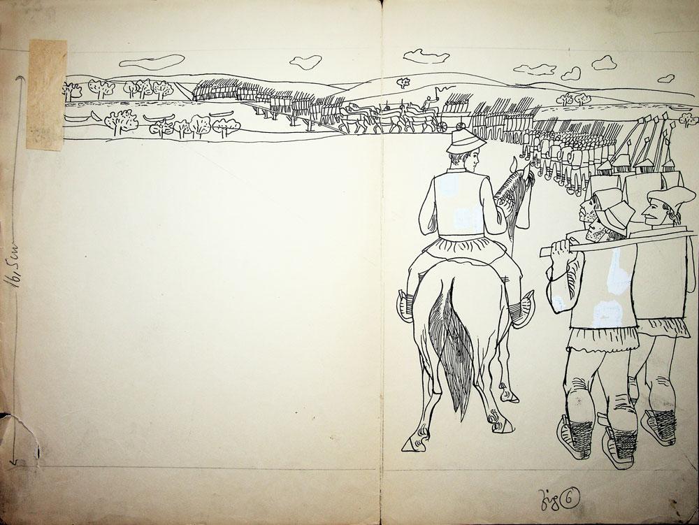 Vasile Celmare, Vintoasa - C Ignatescu, editura Tineretului, fig 6, 1964, tus pe hartie, 35x47 cm