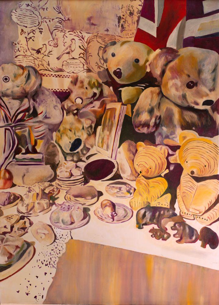Mihaela Mihalache, Lunch bears, 150 x 100 cm, ulei pe pânză, 2019