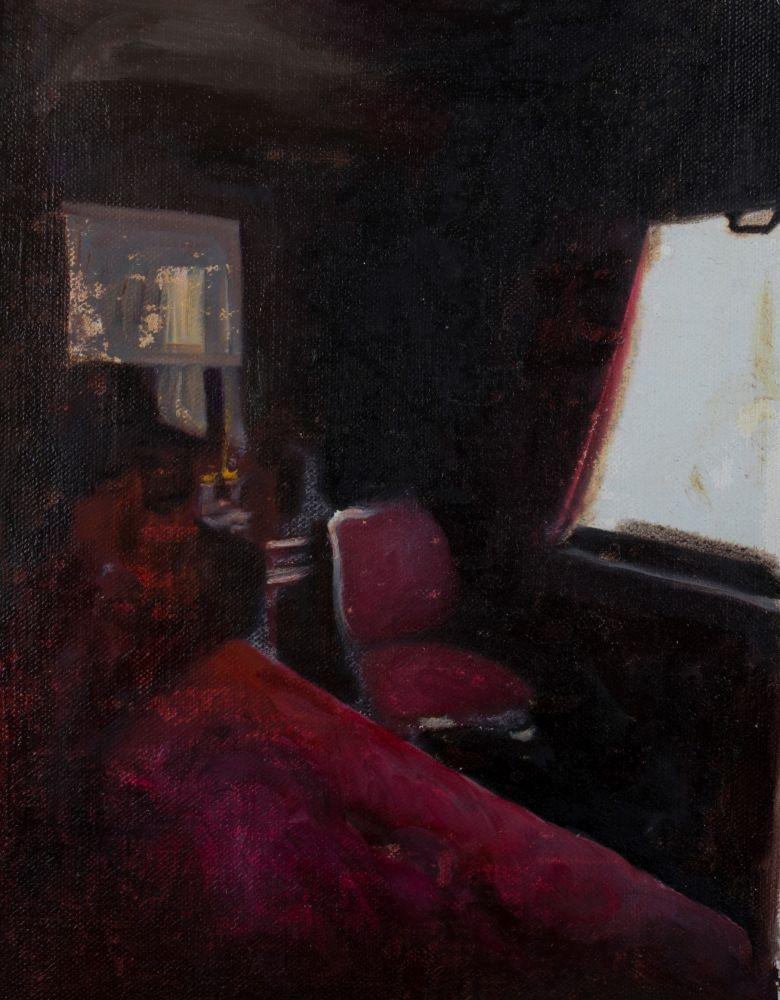 Mihaela Mihalache, Royal train compartment 2, 38x28 cm, oil on canvas, 2019