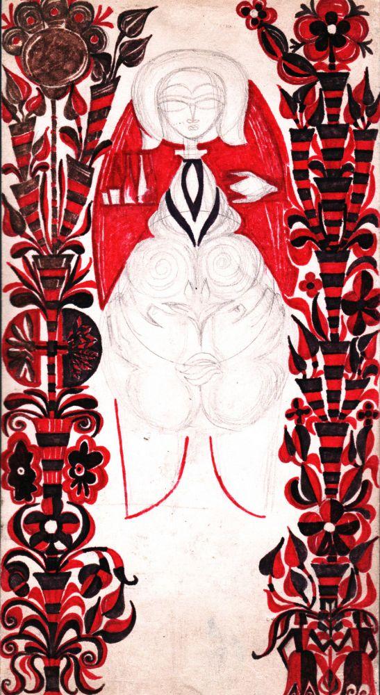 Mariana Popa, Maternitate, creion și cariocă, 30x16 cm, fata
