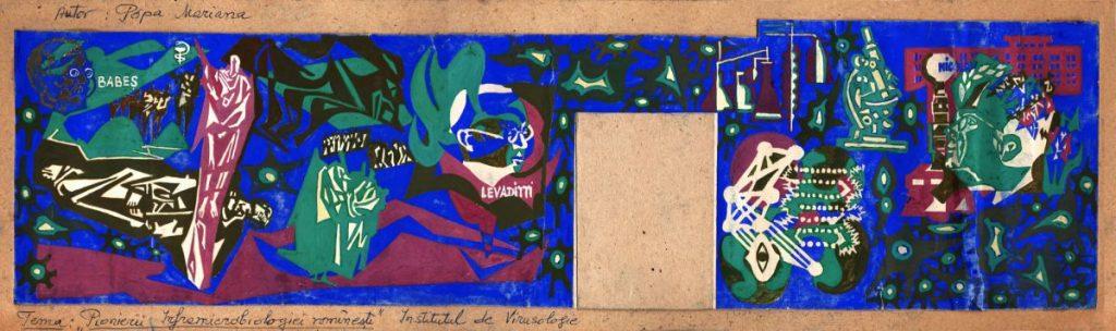 Mariana Popa, Pionierii Inframicrobilogiei românești, Institutul de Virusologie, 1974, 61x18 cm (1)