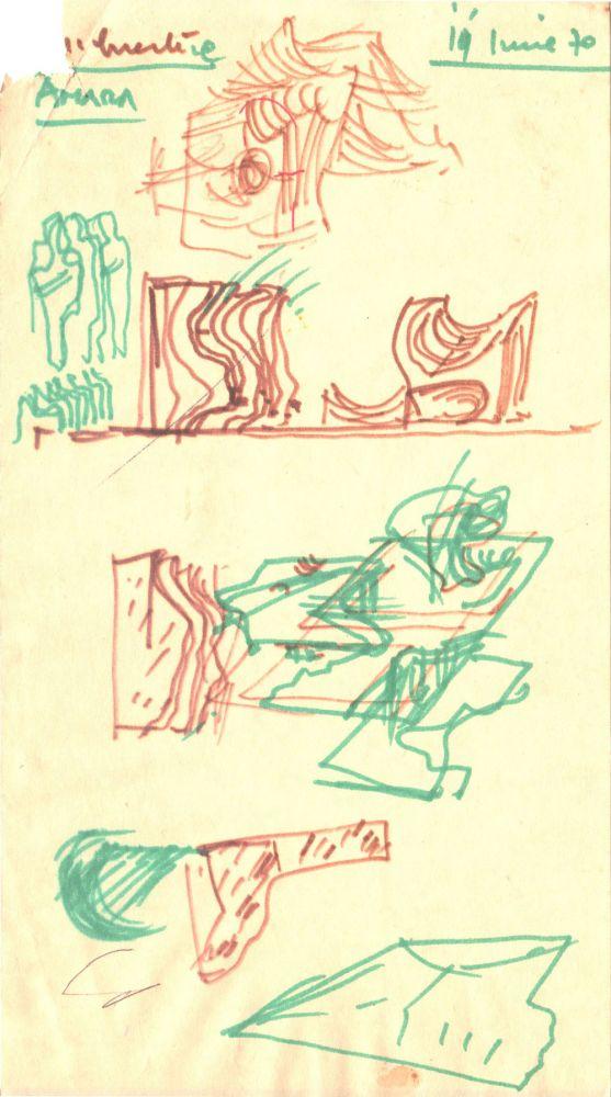 Paul Bortnovschi, Amara 19 iunie 1970, desen pe hartie, 22x12 cm