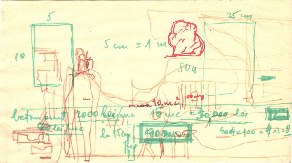 Paul Bortnovschi, Amara, Beton armat, 1970, desen pe hartie, 22x12 cm