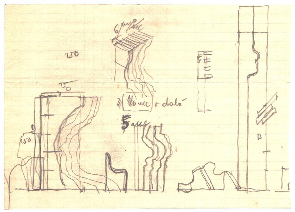 Paul Bortnovschi, Amara, schita de profil, 1970, desen pe hartie, 155x110 mm