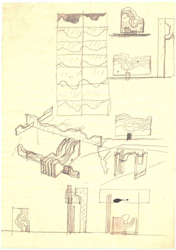 Paul Bortnovschi, Amara, schita de profil, 1970, desen pe hartie, 27x19 cm