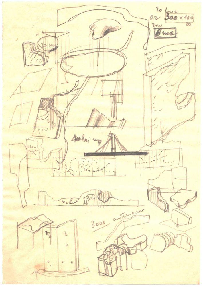 Paul Bortnovschi, Schita 20 de bucati, 1970, creion pe hartie, 21x15 cm