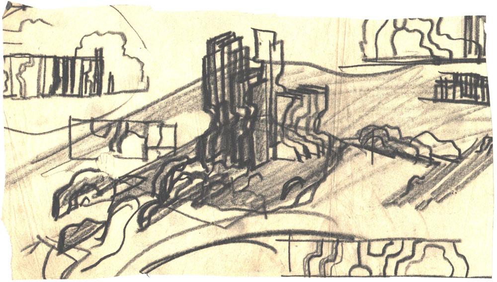Paul Bortnovschi, Schita de amplasare, 1970, creion pe calc, 26x14 cm