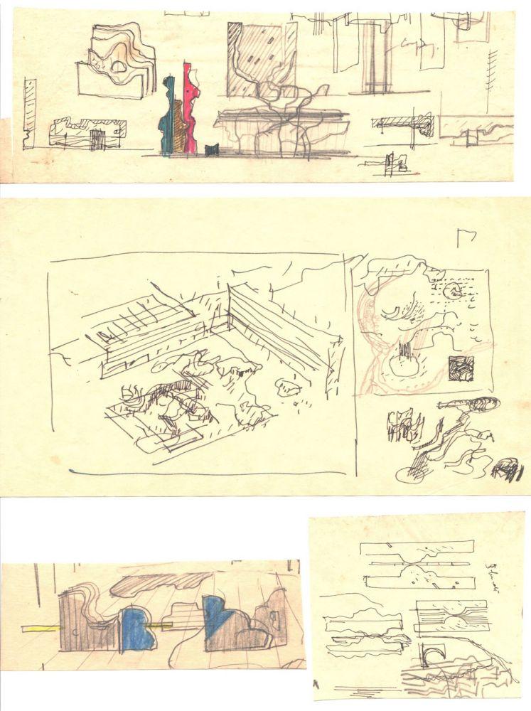 Paul Bortnovschi, Schita de amplasare, 1970, creion pe hartie