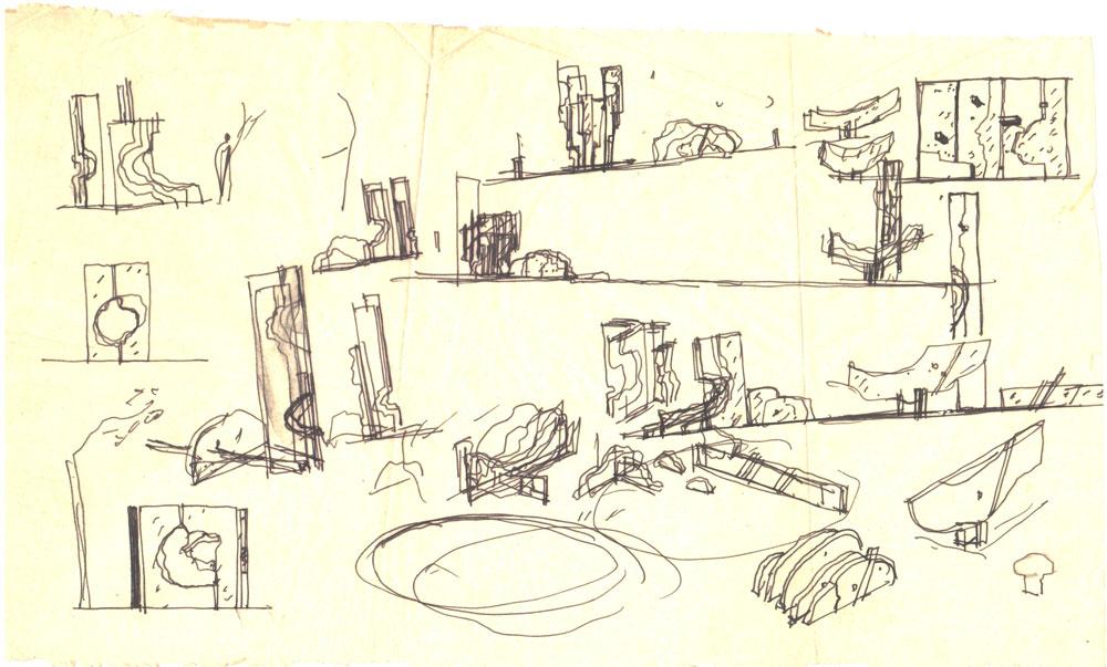 Paul Bortnovschi, Schita de amplasare si de relief, 1970, creion pe calc, 35x20 cm