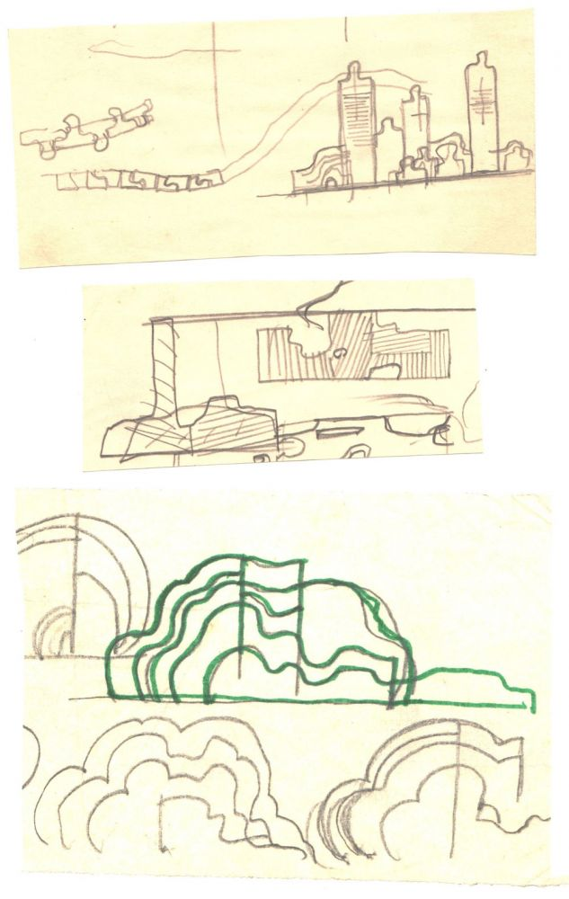 Paul Bortnovschi, Schita de amplasare si de relief, 1970, creion pe hartie