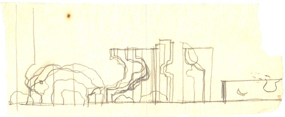 Paul Bortnovschi, Schita de profil, 1970, creion pe calc, 25x11 cm