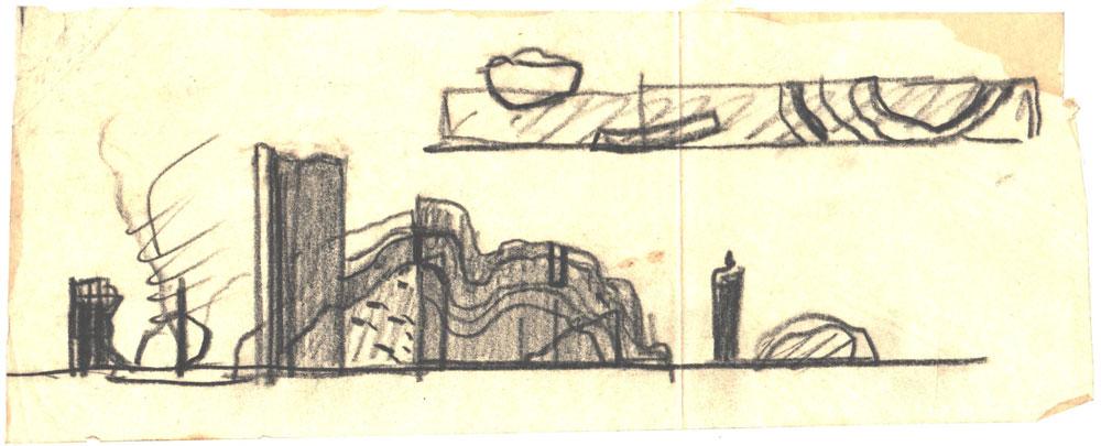 Paul Bortnovschi, Schita de profil, 1970, creion pe calc, 26x10 cm