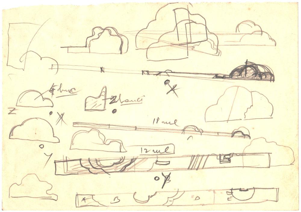 Paul Bortnovschi, Schita de relief, 1970, creion pe hartie 15x22 cm