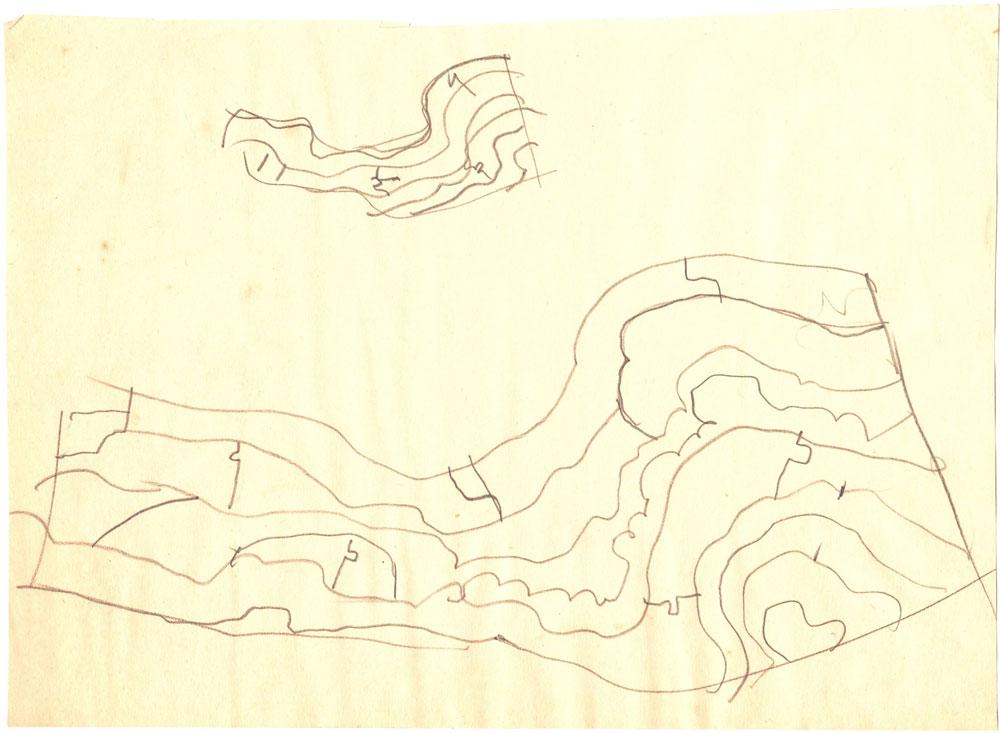 Paul Bortnovschi, Schita de relief, 1970, creion pe hartie 18x25 cm