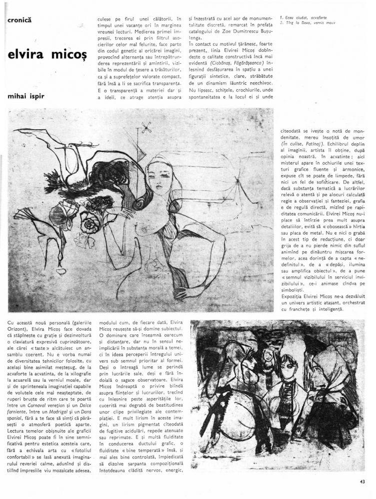 Elvira Micoș, revista Arta, nr 7, 1985