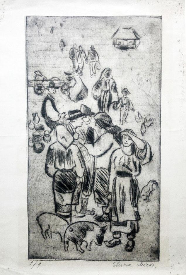 Elvira Micos, la targ, gravura, 44 x 30 cm