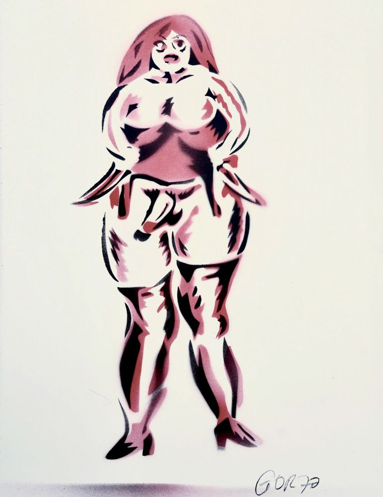 Dumitru Gorzo, Femeie cu pulă III, Acrilic pe hârtie, 64 x 44 cm