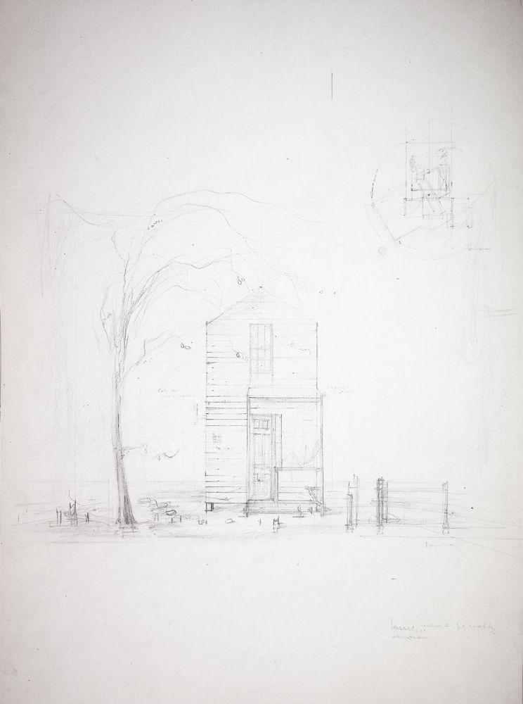 """Paul Bortnovschi, William Saroyan, Inima mea este pe înălțimi, Teatrul """"Lucia Sturdza Bulandra"""", București, 1964, desene de scenografie, 62x37 cm"""