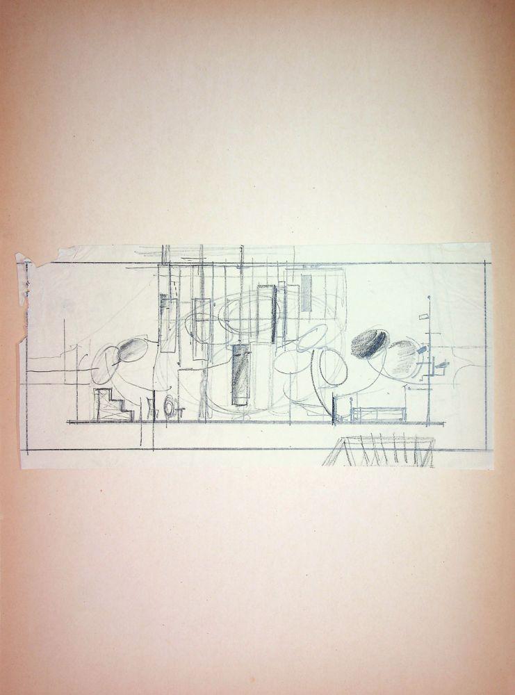 """Paul Bortnovschi, Ecaterina Oproiu, Nu sunt Turnul Eiffel, Teatrul """"Lucia Sturdza Bulandra"""", București, 1966, desene de scenografie, 62x37 cm"""