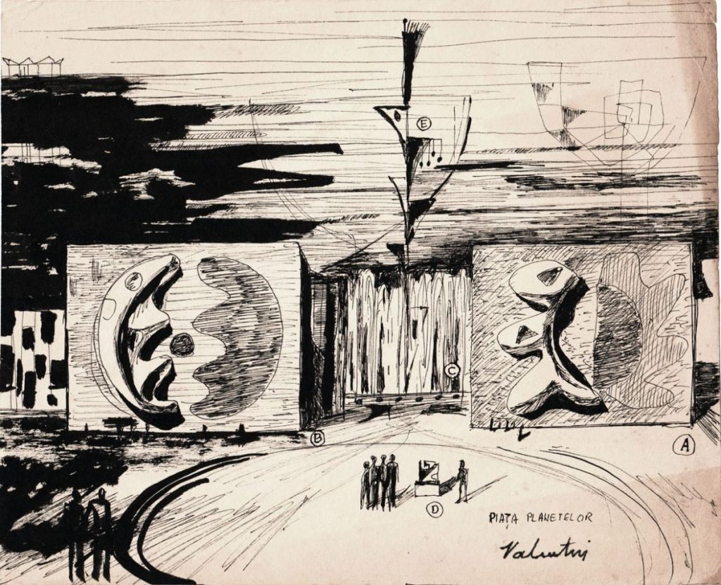 Valentin Popa, Piata Plantelor, Ilustratie pentru Revista Viata Romaneasca 19x24 cm