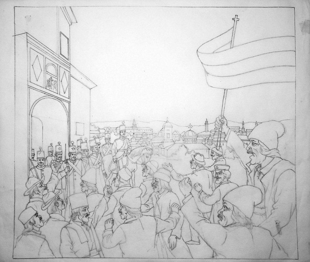 """Vasile Olac, """"Cuza Vodă şi făcliile Unirii"""", 2016, desen pe calc, 29x33 cm 3"""