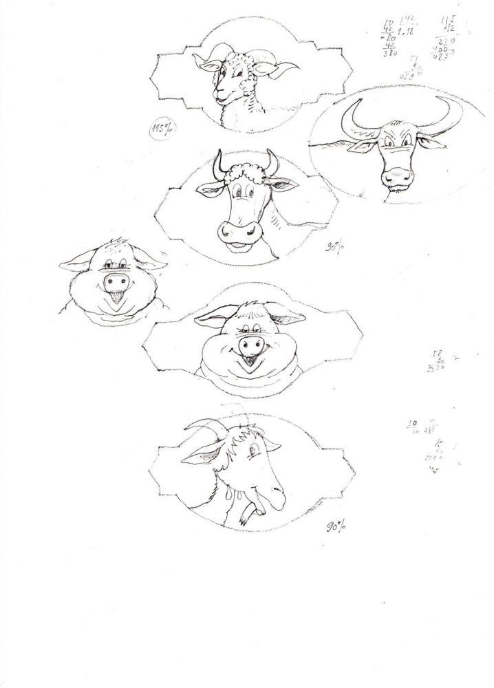 Vasile Olac, vignete animale, desen, 29x21 cm