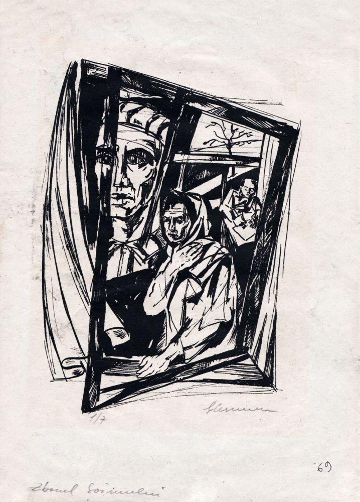 Gheorghe Cernăianu, Zborul Șoimului, gravură pe hârtie, 30x21 cm