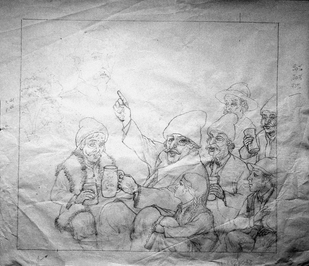 """Vasile Olac, """"Cuza Vodă şi făcliile Unirii"""", 2016, desen pe calc, 31x36 cm"""