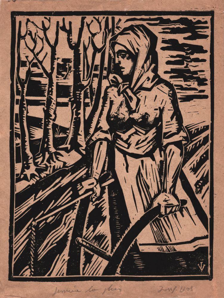 Iosif Vass, Femeie la plug, xilogravura, 24x19 cm