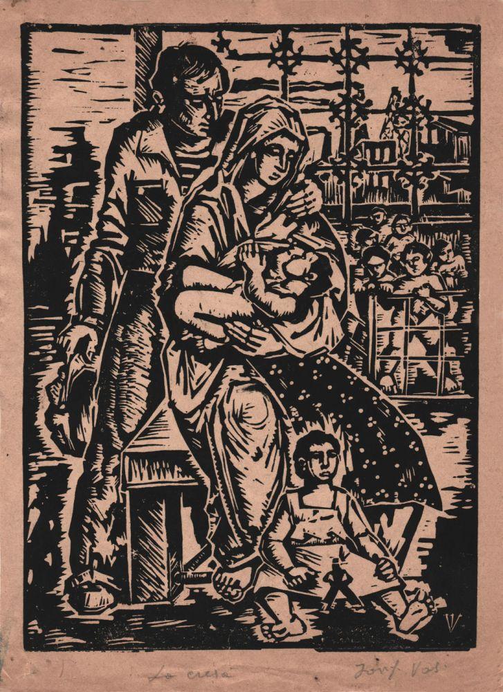Iosif Vass, La cresa, xilogravura, 25x18 cm