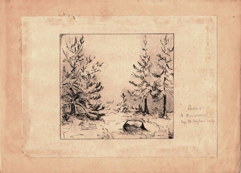 Maria Manolescu, Pădure, gravură, expozițe Magheru, martie, 1969, 21x29 cm