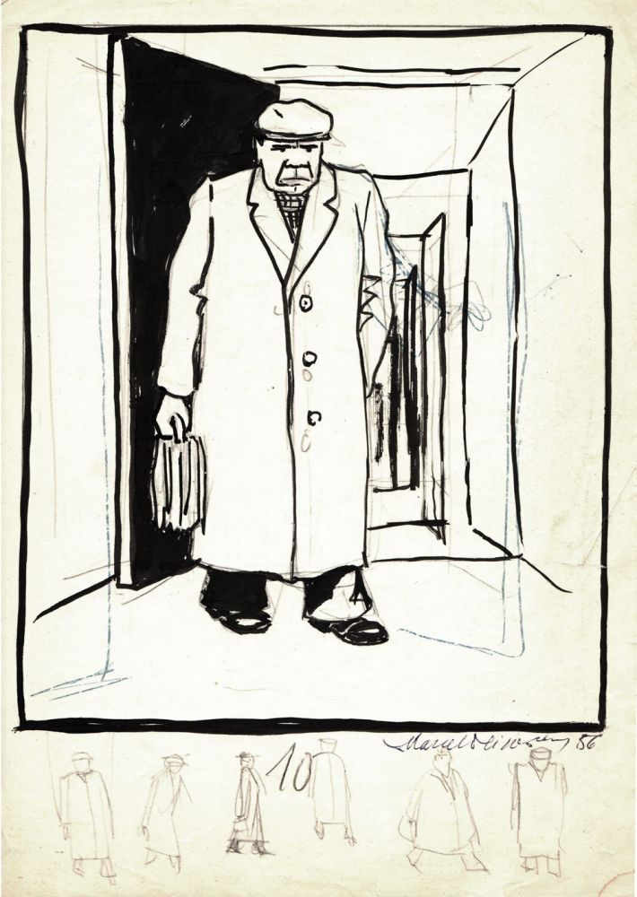 Marcel Olinescu, 10, 1956, tus pe hartie, 30x21 cm