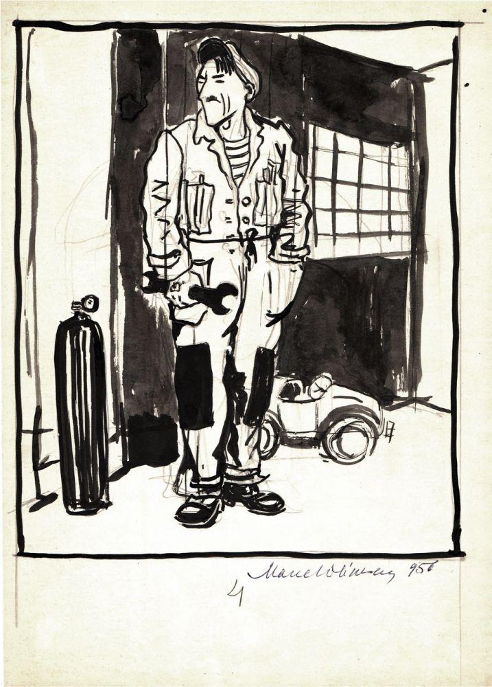 Marcel Olinescu, 4, 1956, tus pe hartie, 30x21 cm