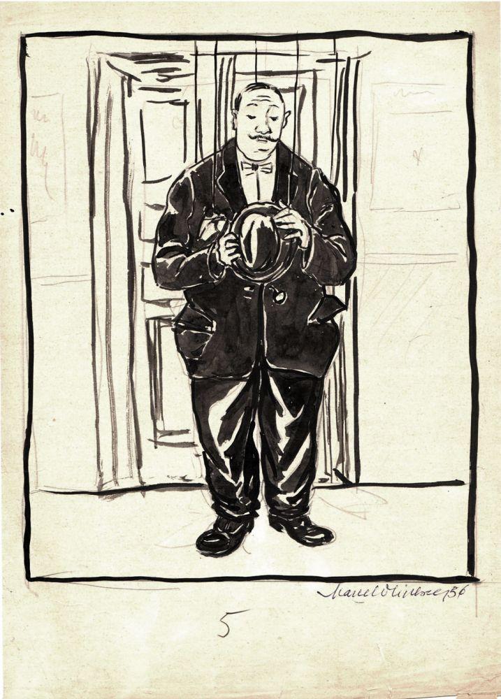 Marcel Olinescu, 5, 1956, tus pe hartie, 30x21 cm